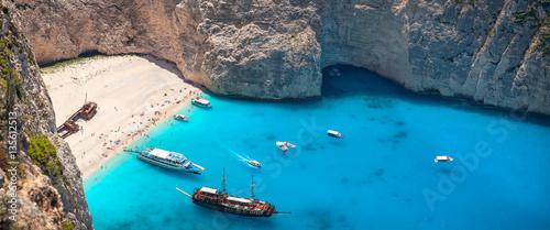 Photo Stands Shipwreck Navagio beach and shipwreck, Zakynthos, Greece