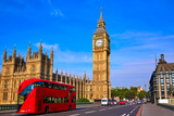 Fototapeta Big Ben - Big Ben Clock Tower and London Bus