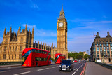 Fototapeta Londyn - Big Ben Clock Tower and London Bus