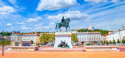 Obraz na plátne  Place Bellecour à Lyon, France