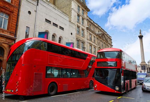Poster Londres bus rouge London Red Bus traditional old