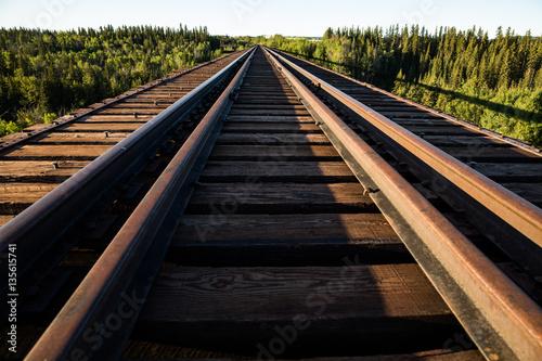 Valokuvatapetti Looking across the abandoned Pouce Coupe railroad trestle