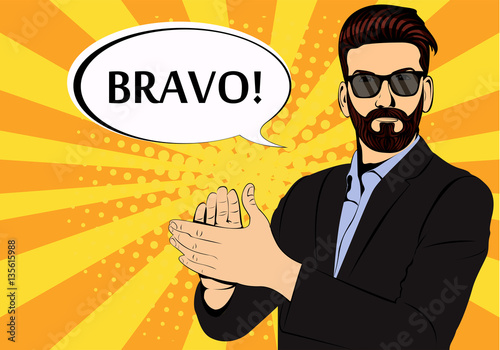 Fotografie, Obraz  Hipster beard businessman applause bravo concept of success retro style pop art