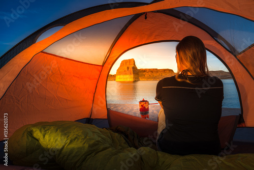 Poster Camping Cooking at Sunset Tent Camping Lone Rock Lake Powell