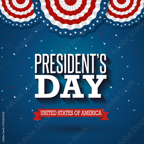 Obraz na plátně happy presidents day poster vector illustration design