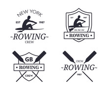 Rowing Team Logo. Vector Emblem Of Rowing Crew With Paddles. Rower Silhouette.