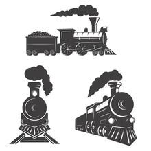 Set Of Trains Icons Isolated On White Background. Design Element