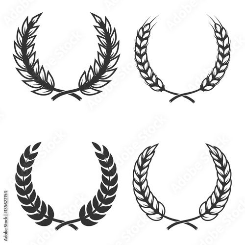 Fotografie, Obraz  Set of  wreaths isolated on white background. Design element for