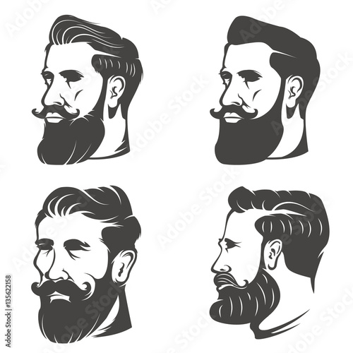 Fotografie, Obraz  Set of the bearded man's head isolated on white background. Desi