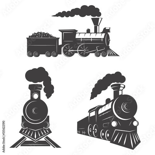 Fotografia Set of trains icons isolated on white background. Design element