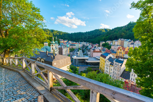 Fotografie, Obraz  Panorama view of Karlovy Vary from U Tri Krizu Viewpoint
