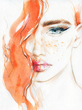 Abstract woman face. Fashion illustration. Watercolor painting - 135634103
