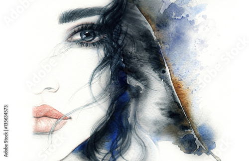 Poster Aquarel Gezicht Abstract woman face. Fashion illustration. Watercolor painting