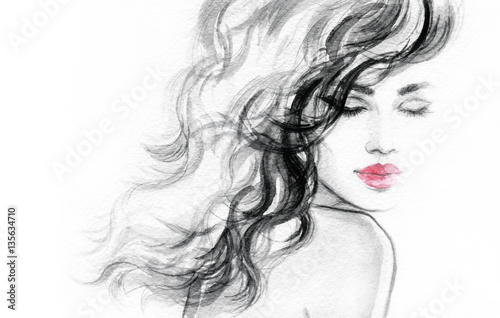 Poster Portrait Aquarelle Abstract woman face. Fashion illustration. Watercolor painting