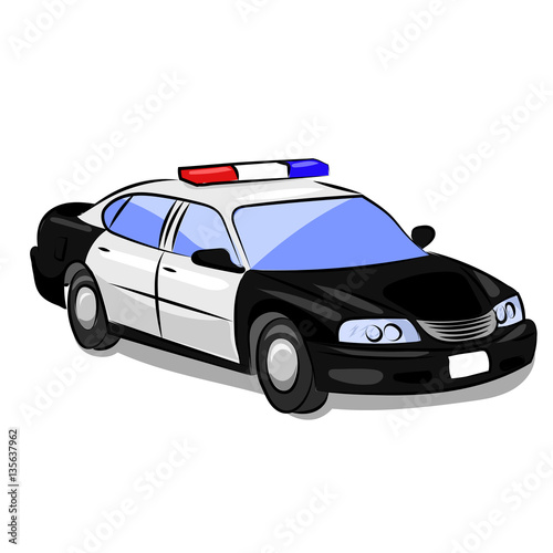 Staande foto Cartoon cars police car with flashers isolated at the white background