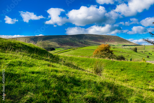 Obraz Scenic view on Pendle Hill, Summer, blue sky and white clouds, Forest Of Bowland, Lancashire, England, UK - fototapety do salonu