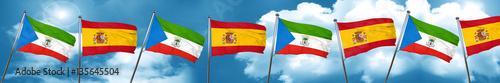 Fotografía  Equatorial guinea flag with Spain flag, 3D rendering