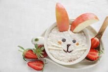 Easter Bunny Rabbit Porridge Breakfast , Food Art For Kids, Vegan Plant Based Diet