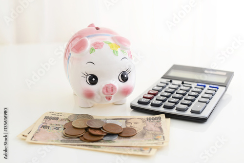 Fotografie, Obraz  豚の貯金箱とお金