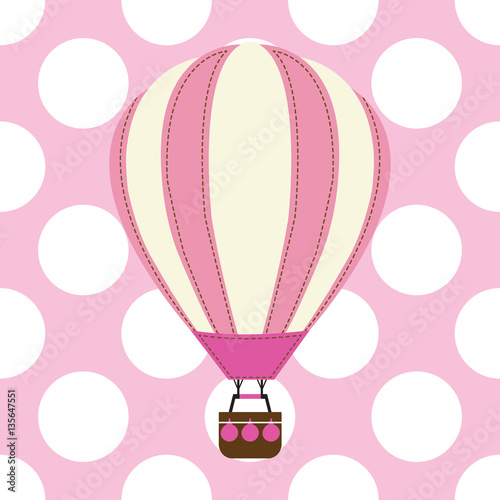 Baby Shower Card With Cute Hot Air Balloon On Pink Background Suitable For Baby Shower Postcard Nursery Wall And Wallpaper Buy This Stock Vector And Explore Similar Vectors At Adobe Stock