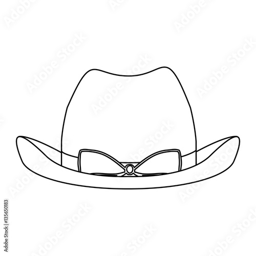silhouette lace cowboy hat with bow retro design vector illustration ... 3ccca472662