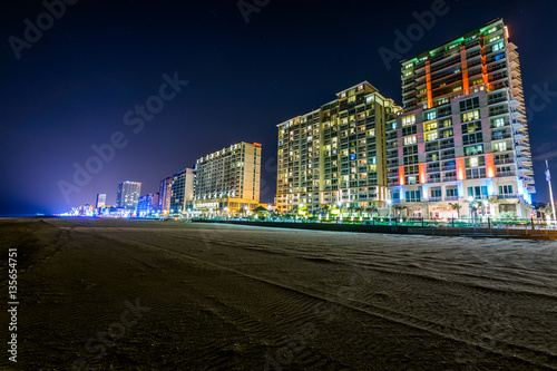 Buildings at Virginia Beach, Virginia during a Warm Fall Night Canvas Print