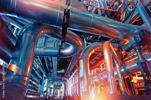 Staande foto Industrial geb. Industrial zone, Steel pipelines, valves and tanks