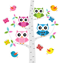 Vector Set Of A Colorful Owls,...