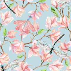 Fototapetawatercolor magnolia branches and dragonfly