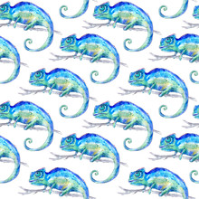 Seamless Pattern Of A Blue Chameleon On A Branch. Watercolor Hand Drawn Illustration.