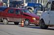 Crash broken car on accident site