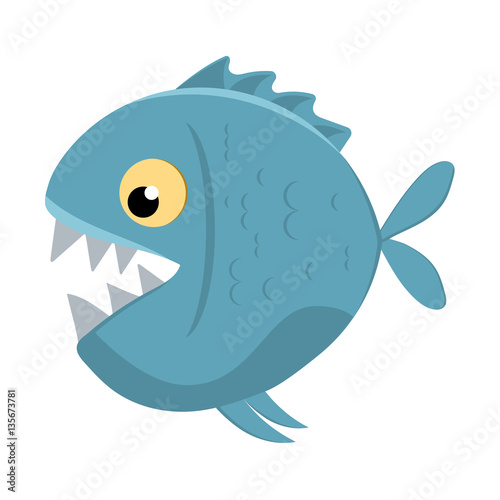Valokuvatapetti Cute cartoon piranha with sharp teeth