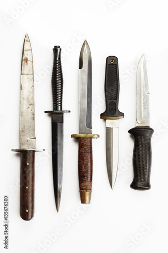 Photo  Selection of used combat and fighting knives