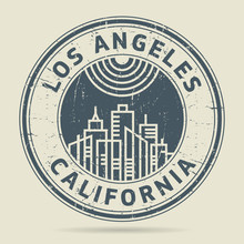 Grunge Rubber Stamp Or Label With Text Los Angeles, Califronia
