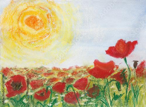 """Plakat malowanie pasteli i akwarela na papierze """"Maki i słońce"""". Szkicuj na świeżym powietrzu."""