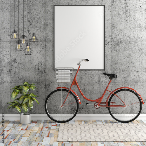 Fototapety, obrazy: 3d interior with blank frame and bicycle