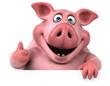 Leinwanddruck Bild - Fun pig - 3D Illustration