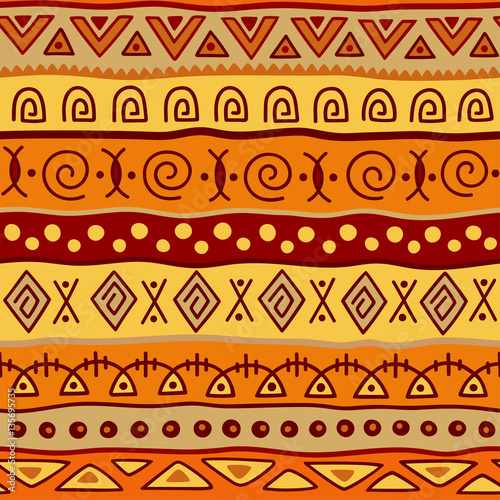 Seamless color pattern in ethnic style Canvas Print