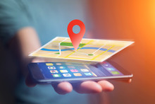 Vuiew Of A Concept Of Geographical Localization On A Map With A Smartphone