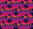 canvas print picture - Savanna pattern with elephants at sunset background. Elephant silhouette pattern. Bird get back nest.