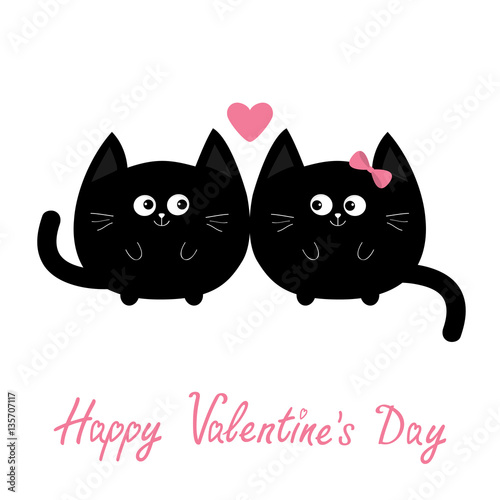 Round Shape Black Cat Icon Love Family Couple Pink Heart Cute