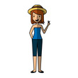 young woman with summer clothes vector illustration design