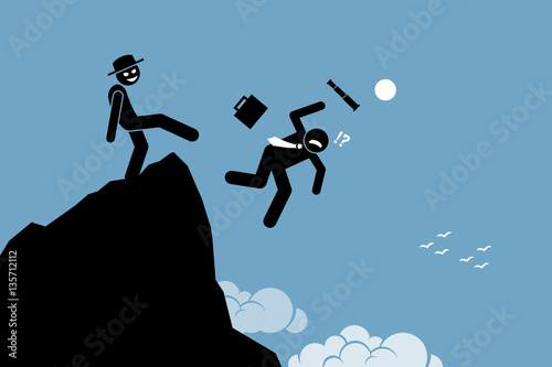Photo Evil man kicking down his business partner from the top of the hill