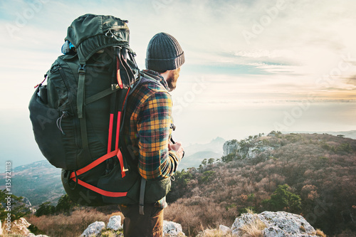 Man Traveler with big backpack hiking mountains expedition Travel Lifestyle succ Canvas Print