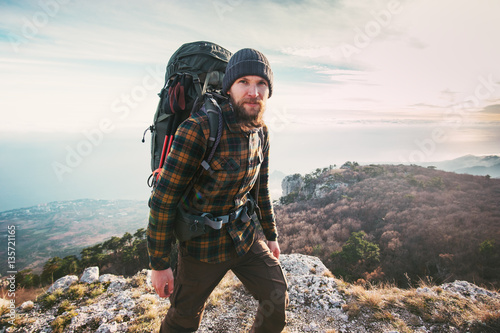 Bearded Man backpacker hiking in mountains Travel Lifestyle concept adventure ac Canvas Print