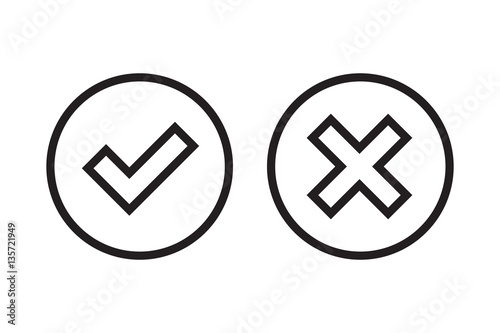 Tick And Cross Black Signs Gray Checkmark Ok And X Icons Isolated