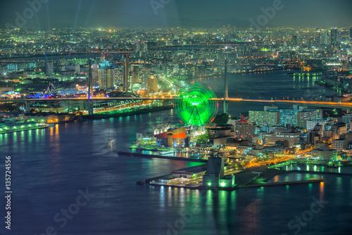 Foto op Plexiglas Japan Osaka view at night from Cosmo tower, Japan