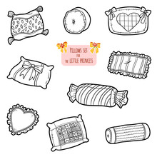 Black And White Set Of Pillows, Cartoon Collection