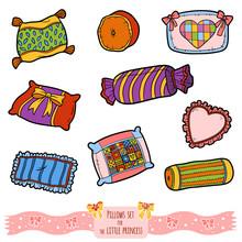 Colorful Set Of Pillows, Vector Cartoon Collection