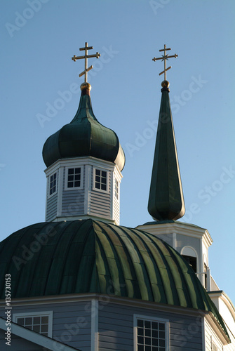 Spires of St. Michael's Cathedral, Sitka, Alaska Tablou Canvas
